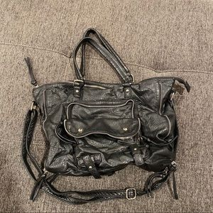 Faux leather zippers bag